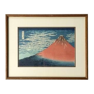 "1970s Vintage Katsushika Hokusai ""Red Fuji"" Woodblock Print Framed For Sale"