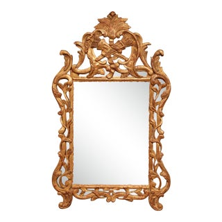 18th Century French Louis XV Carved Giltwood Mirror From Provence For Sale