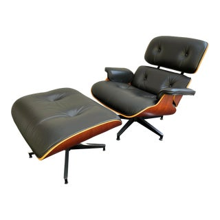 Herman Miller Eames Lounge Chair & Ottoman Black Leather 670 671 - a Pair For Sale