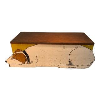 1940s Vintage Handmade Lidded Dog Box For Sale