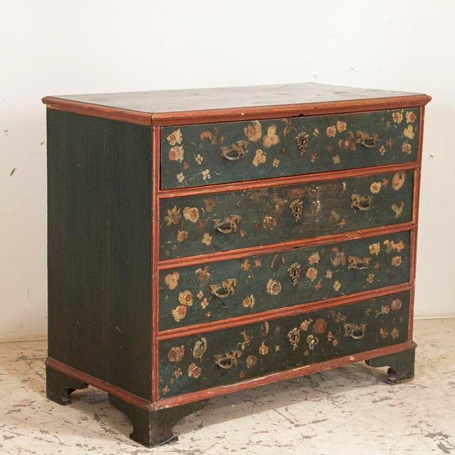 Green Antique Hand Painted Chest of Drawers With Flowers For Sale - Image 8 of 8