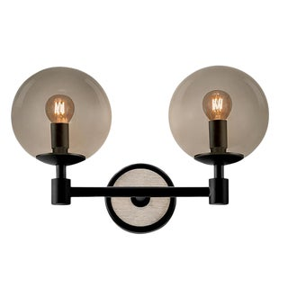 Lunar Satin Black and Smokey Glass Double Wall Light For Sale