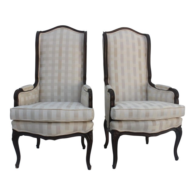 French Provincial Carved Wood Arm Chairs - A Pair - Image 1 of 11