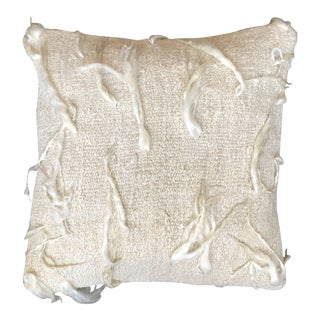 """Unico"" White Wool Pillow by Le Lampade For Sale"