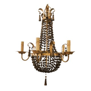 Italian Vintage Wood Beaded Chandelier For Sale