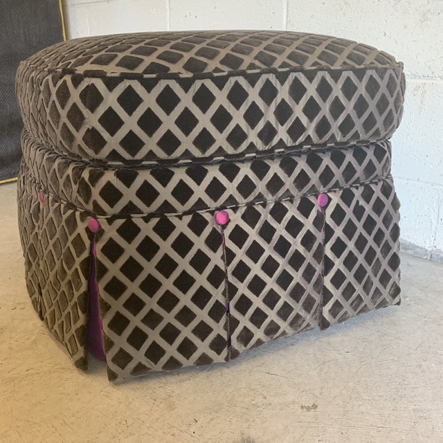 This is just the cutest ottoman! Great condition! Seriously, it appears to have been reupholstered, but never used. No...