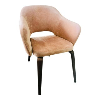 Vintage Thonet Velvet Blush Pink Armchair With Bentwood Legs For Sale