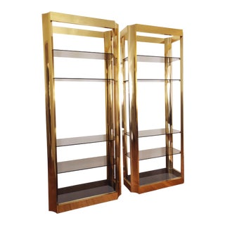Regency Brass and Smoked Glass Baughman Style Etageres - a Pair For Sale
