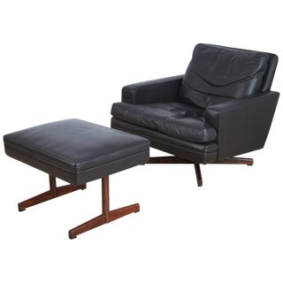 1960s Vatne Møbler Norway Swivel Lounge Chair & Ottoman For Sale