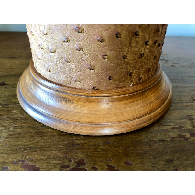 Mid Century Ostrich Leather Brass Lamp For Sale In Buffalo - Image 6 of 7