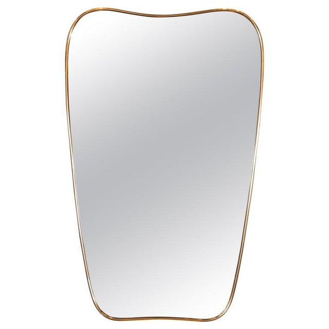 1950s Italian Amorphic Mid-Century Modern Atomic Bowed Shield Form Brass Mirror For Sale - Image 5 of 5