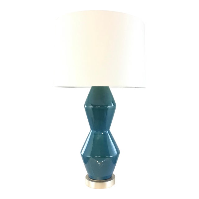 Arteriors Modern Teal Crackle Ceramic Tonto Table Lamp For Sale