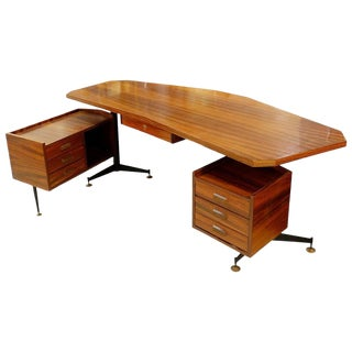 Italian Boomerang Rosewood Desk, 1960s For Sale