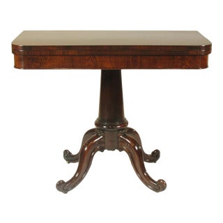 19th-C. English Rosewood Game Table For Sale
