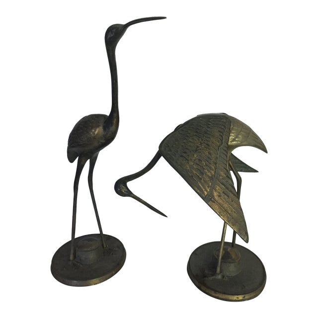 Brass Crane Statues- a Pair For Sale