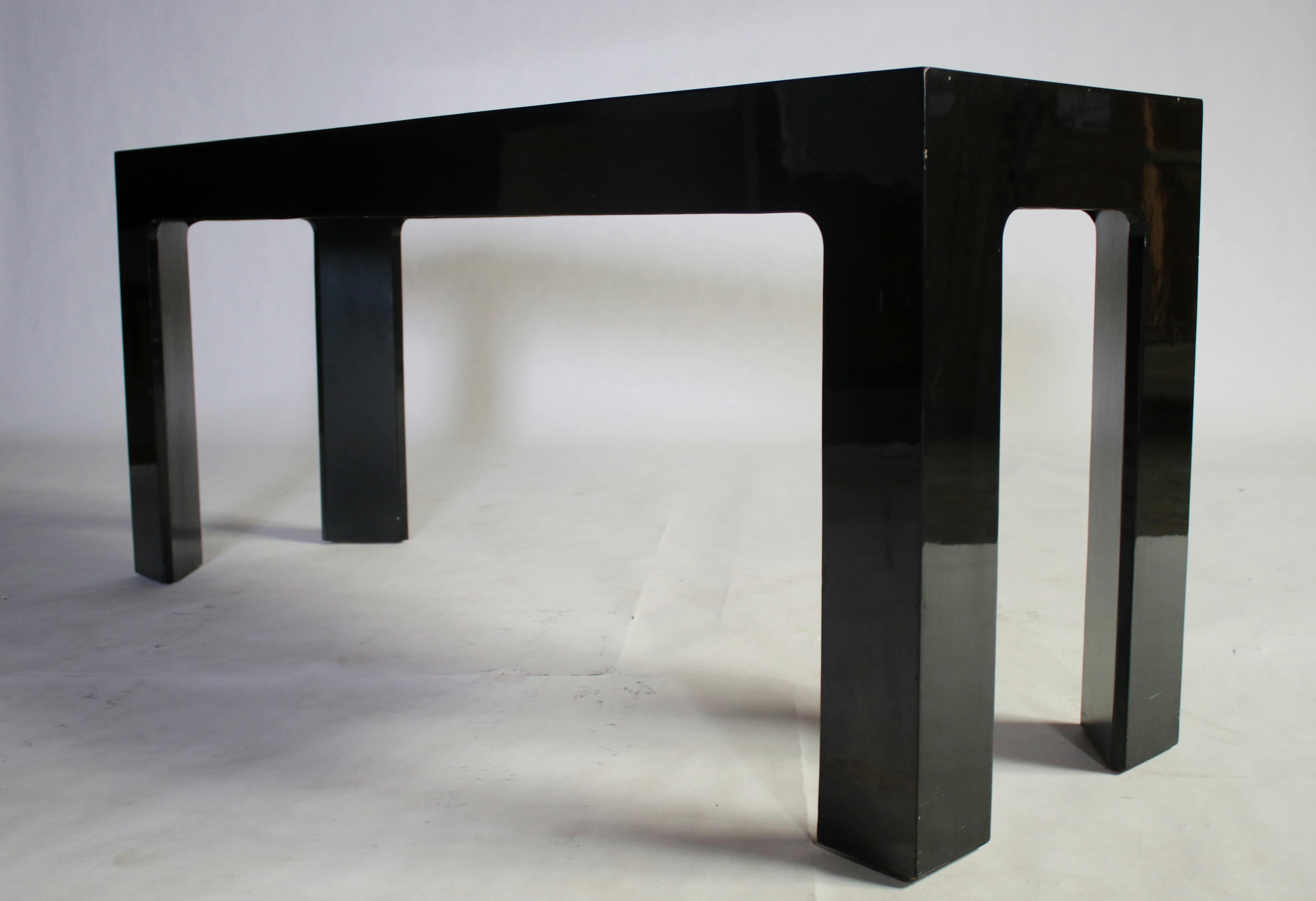 Parson Style Black Lacquered Console Table and Benches Chairish
