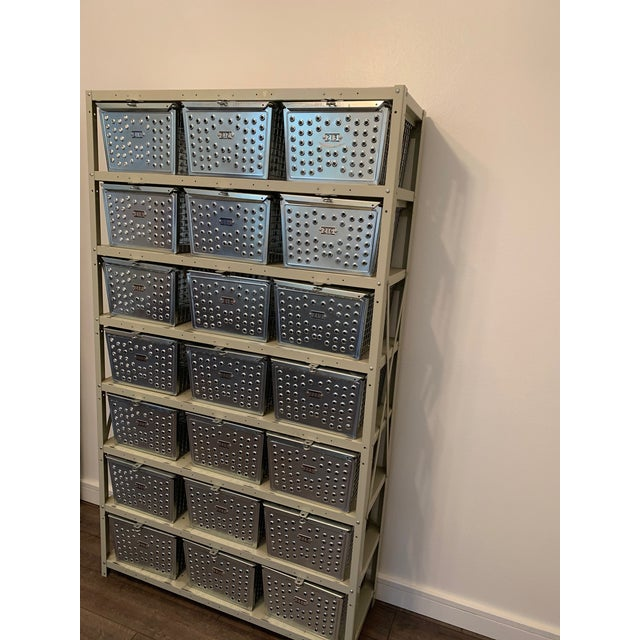 Industrial Vintage Industrial Swim and Gym Basket Lockers With Shelving For Sale - Image 3 of 11