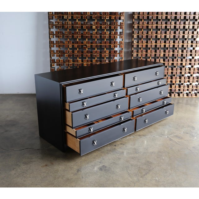 1950s Mid-Century Modern Paul Frankl for Johnson Furniture Company Ebonized Chest For Sale - Image 12 of 13