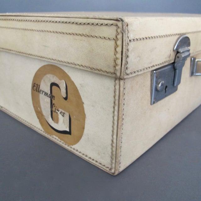 Antique 1920 Cream Vellum Suitcase For Sale - Image 4 of 11