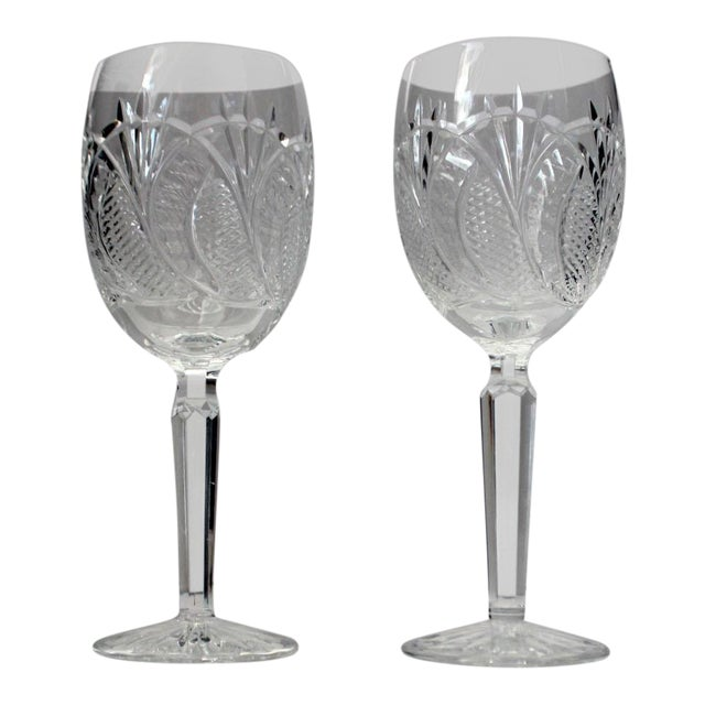 American Classical Waterford Crystal Wine Glasses - a Pair For Sale