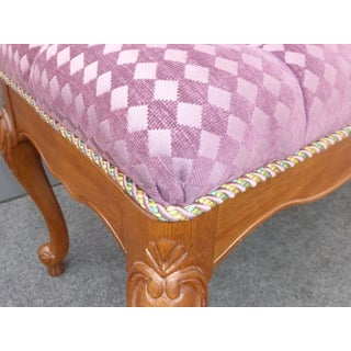 Vintage French Country Tufted Lilac Velvet Diamond Pattern Upholstered Bench Preview