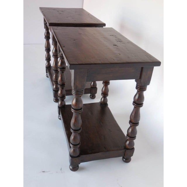 Pair of Custom Walnut Side Tables/Nightstands with Turned Legs, Drawer and Shelf For Sale In Los Angeles - Image 6 of 8