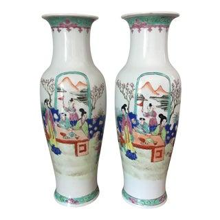 Vintage Hand Painted Chinese Vases - Pair