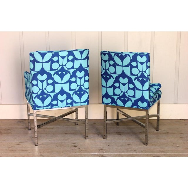 1960s Vintage Blue Upholstered Bernhardt Flair Division Chairs - Set of 6 For Sale - Image 5 of 7