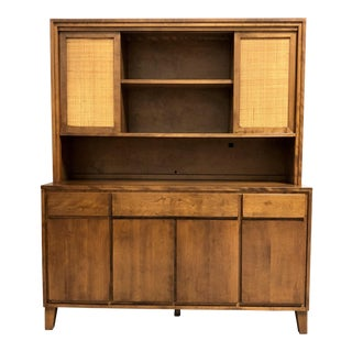 Mid Century Modern Server Cabinet & Hutch by Conant Ball For Sale