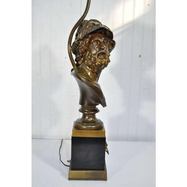 19th Century French Patinated Bronze Bust of Trojan War Greek General Ajax Table Lamp For Sale - Image 4 of 10