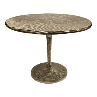 Currey & Co. Silver Hammered End Table For Sale