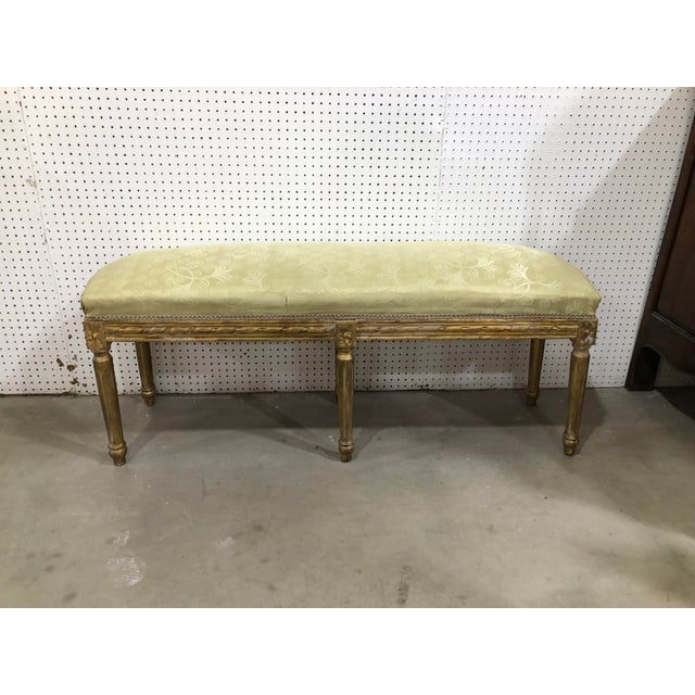 Vintage Giltwood French XVI Long Bench For Sale - Image 4 of 4