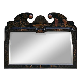Antique French Chinoiserie Hand-Painted Beveled Mirror For Sale