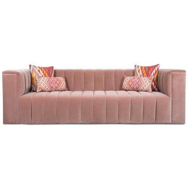 Contemporary Monaco Sofa in Mauve Velvet For Sale - Image 3 of 4