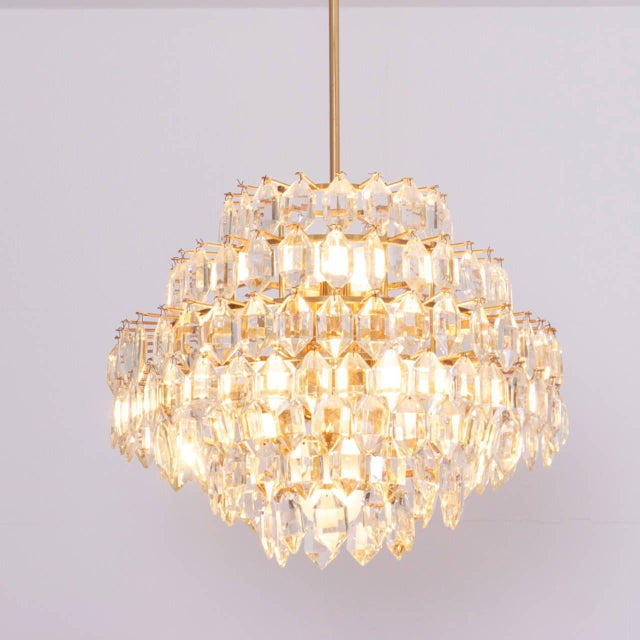 Gold Stunning Pair of Seven-Tier Crystal Glass Bakalowits Chandeliers For Sale - Image 8 of 8