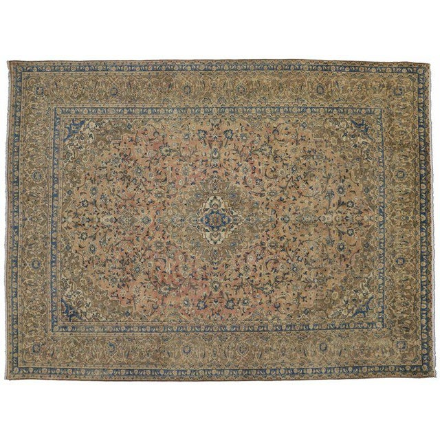 Mid 20th Century 20th Century Persian Kashan Rug - 9′8″ × 12′10″ For Sale - Image 5 of 7