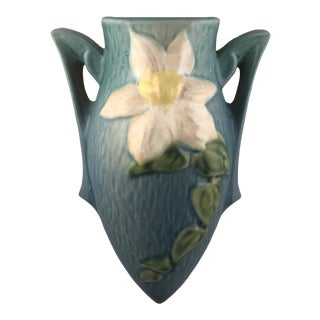 Roseville Pottery Clematis Blue Wall Pocket Vase For Sale