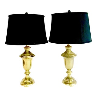 1960's Neoclassical Style Solid Brass Lamps - A Pair