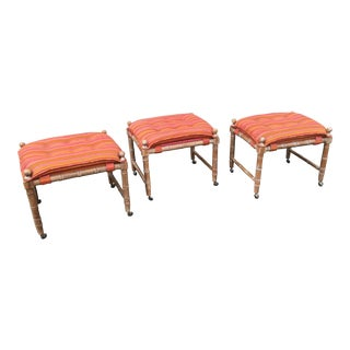 1960s Vintage Faux Bamboo Wood Stools- Set of 3 For Sale