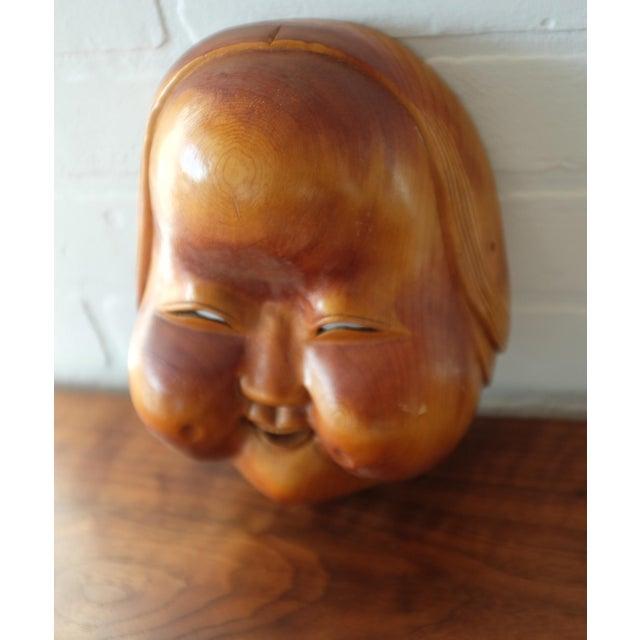 Vintage Hand Carved Wooden Japanese Mask For Sale - Image 4 of 9