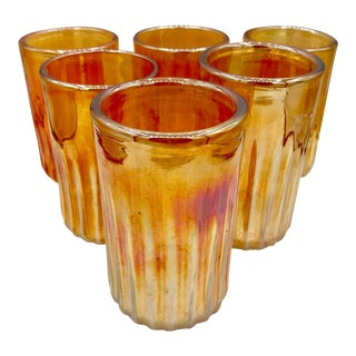Vintage Signed Peter Vissusi Marigold Blown Art Glass Tumblers - Set of 6 For Sale