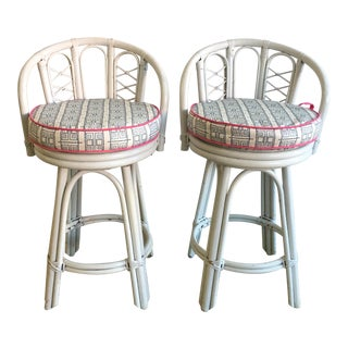 Vintage White Rattan Swivel Barstools - A Pair