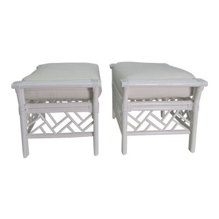 1970s Vintage White on White Ottomans-a Pair For Sale