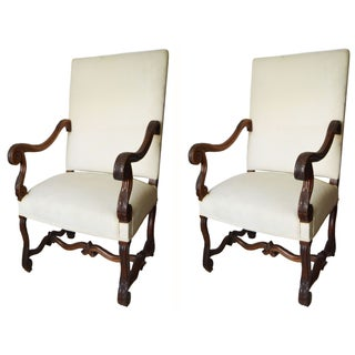 Vintage French Louis XIV Style Armchairs - A Pair
