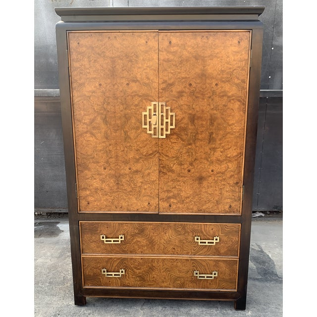 1970's Century Furniture Burl Wood Cabinet With Brass Hardware For Sale In Los Angeles - Image 6 of 6