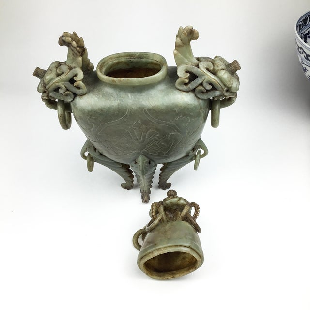 Celadon Magnificent Carved Chinese Soapstone Ritual Ewer For Sale - Image 8 of 12