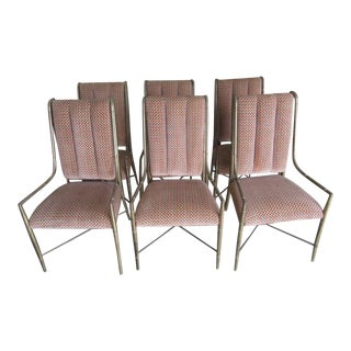 Vintage Mid Century Mastercraft Chinoiserie Brass Bamboo Style Dining Chairs- Set of 6 For Sale