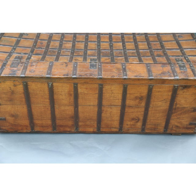 Metal British Colonial Iron Bound Trunk Coffee Table Chest For Sale - Image 7 of 13