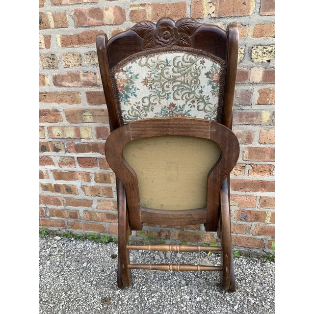 Vintage Victorian Style Upholstered Folding Rocking Chair For Sale - Image 9 of 10