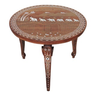 Vintage Inlayed Indian 'Elephant Caravan' Teak Wood & Ebony Round Coffee / Side Table For Sale